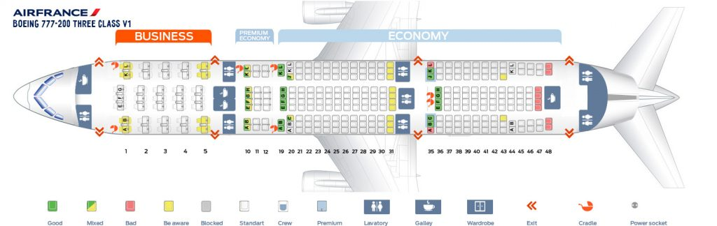Seat Map and Seating Chart Boeing 777 200ER Air France Three Class V1