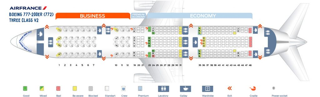 Seat Map and Seating Chart Boeing 777 200ER Air France Three Class V2