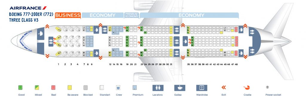 Seat Map and Seating Chart Boeing 777 200ER Air France Three Class V3