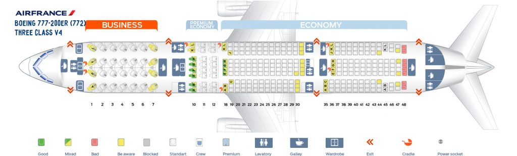 Seat Map and Seating Chart Boeing 777 200ER Air France Three Class V4
