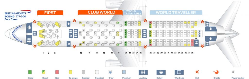 Seat Map and Seating Chart Boeing 777 200ER Four Class Layout British Airways