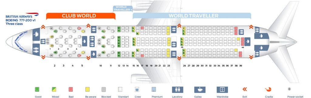 Seat Map and Seating Chart Boeing 777 200ER Three Class Layout V1 British Airways