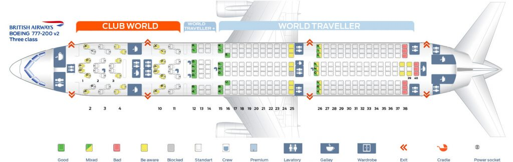 Seat Map and Seating Chart Boeing 777 200ER Three Class Layout V2 British Airways