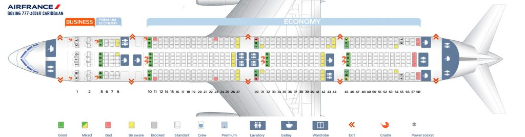 Seat Map and Seating Chart Boeing 777 300ER Air France Caribbean Layout
