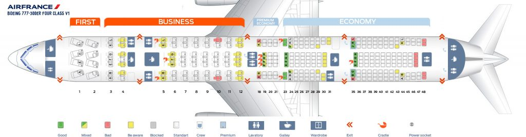 Seat Map and Seating Chart Boeing 777 300ER Air France Four Class V1 Layout