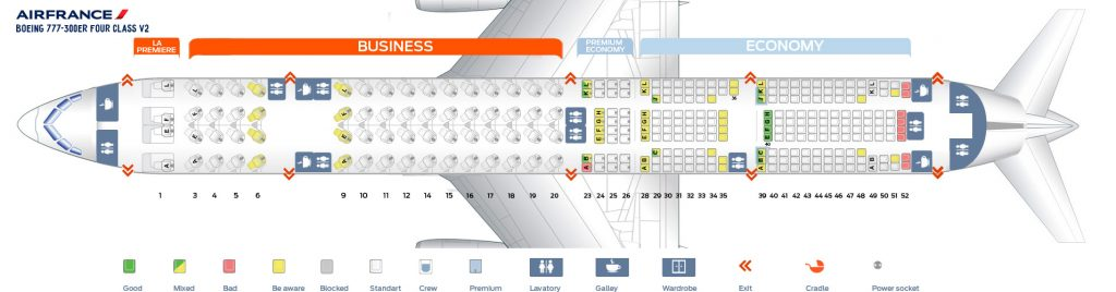 Seat Map and Seating Chart Boeing 777 300ER Air France Four Class V2 Layout