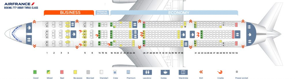 Seat Map and Seating Chart Boeing 777 300ER Air France Three Class Layout