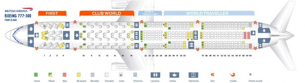 Seat Map and Seating Chart Boeing 777 300ER Four Class Layout British Airways