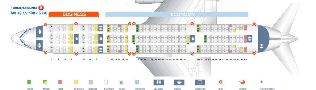 Seat Map and Seating Chart Boeing 777 300ER Turkish Airlines