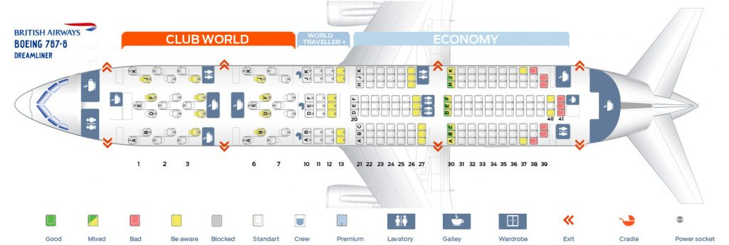 Seat Map and Seating Chart Boeing 787 8 Dreamliner British Airways