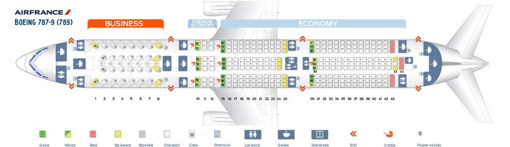 Seat Map and Seating Chart Boeing 787 9 Dreamliner Air France