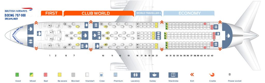 Seat Map and Seating Chart Boeing 787 9 Dreamliner British Airways