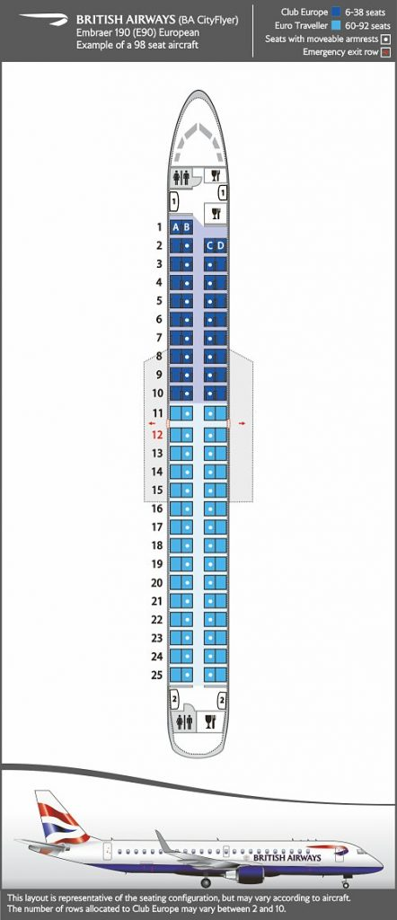 Seat Map and Seating Chart Embraer E190 BA CityFlyer