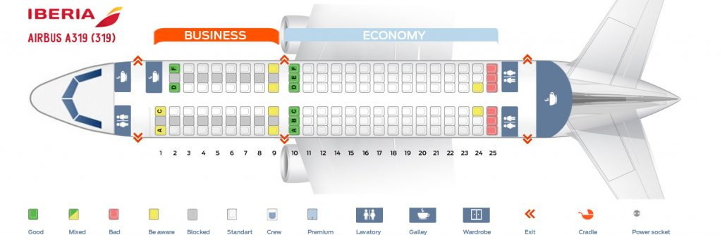 Seat Map and Seating Chart Iberia Airbus A319 100