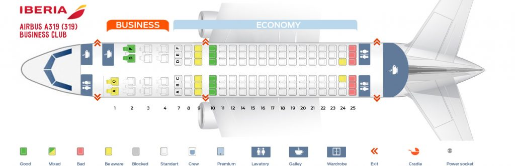 Seat Map and Seating Chart Iberia Airbus A319 100 Business Club