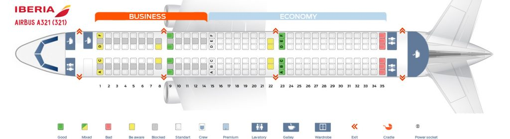 Seat Map and Seating Chart Iberia Airbus A321 200