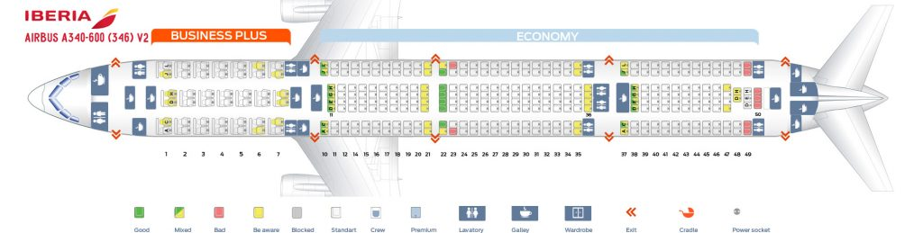 Seat Map and Seating Chart Iberia Airbus A340 600 V2
