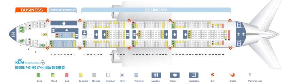 Seat Map and Seating Chart KLM Boeing 747 400 New World Business Lower Deck