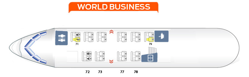 Seat Map and Seating Chart KLM Boeing 747 400 New World Business Upper Deck