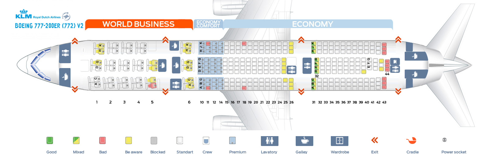 Seat Map And Seating Chart Klm Boeing 777 200er New World Business