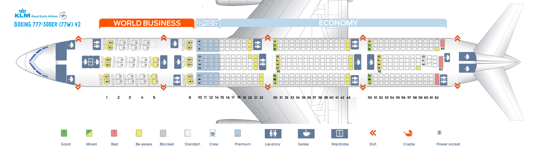 Seat Map And Seating Chart Klm Boeing 777 300er New World Business Layout