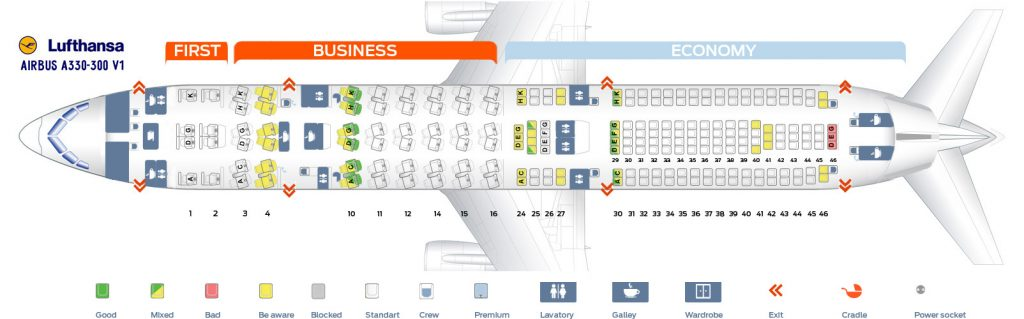 Seat Map and Seating Chart Lufthansa Airbus A330 300 Three Class Layout