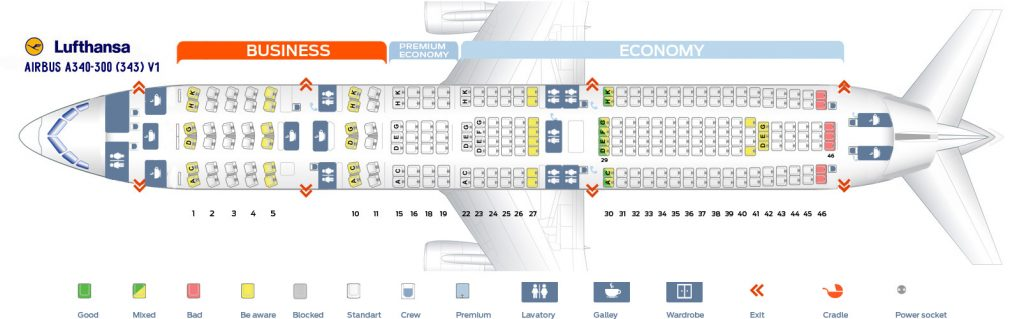 Seat Map and Seating Chart Lufthansa Airbus A340 300 Three Class Layout V1