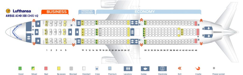 Seat Map and Seating Chart Lufthansa Airbus A340 300 Three Class Layout V2
