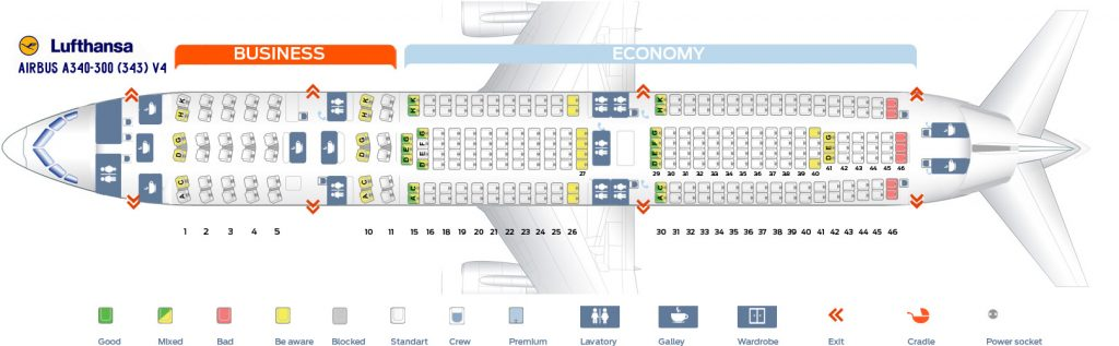 Seat Map and Seating Chart Lufthansa Airbus A340 300 Two Class Layout