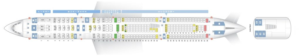 Seat Map and Seating Chart Lufthansa Airbus A340 600 Four Class Layout V1