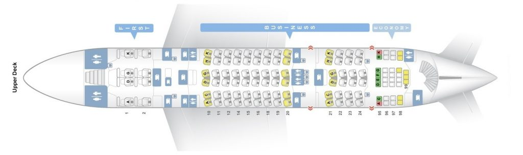 Seat Map and Seating Chart Lufthansa Airbus A380 800 Upper Deck