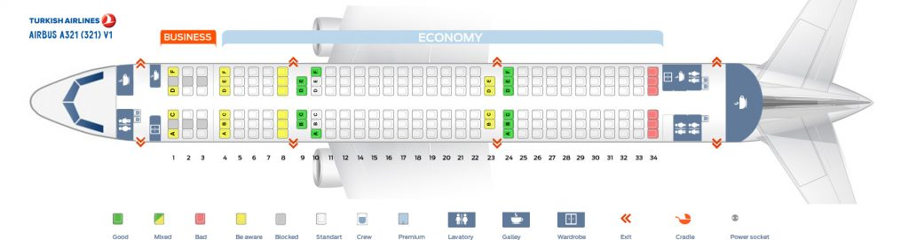 Seat Map and Seating Chart Turkish Airlines Airbus A321 200 V1