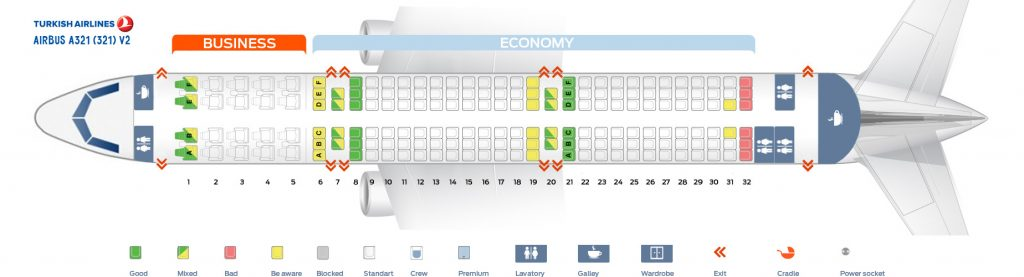 Seat Map and Seating Chart Turkish Airlines Airbus A321 200 V2