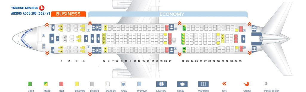 Seat Map and Seating Chart Turkish Airlines Airbus A330 200 V1