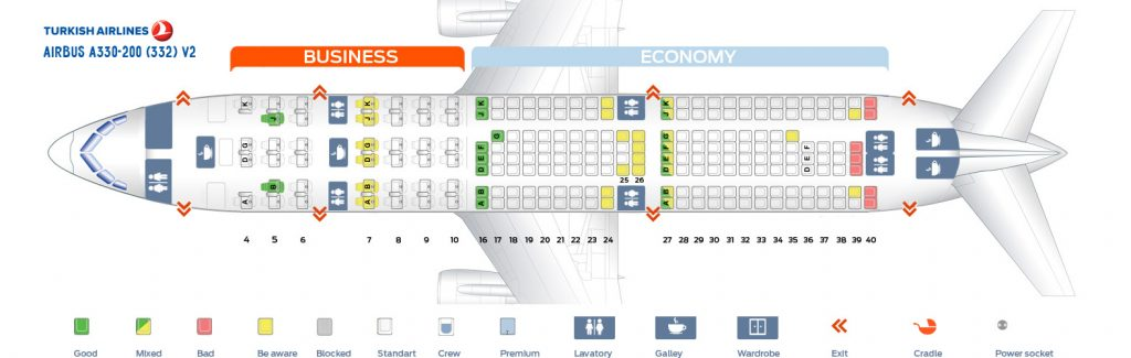 Seat Map and Seating Chart Turkish Airlines Airbus A330 200 V2