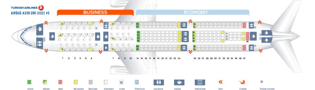Seat Map and Seating Chart Turkish Airlines Airbus A330 200 V3