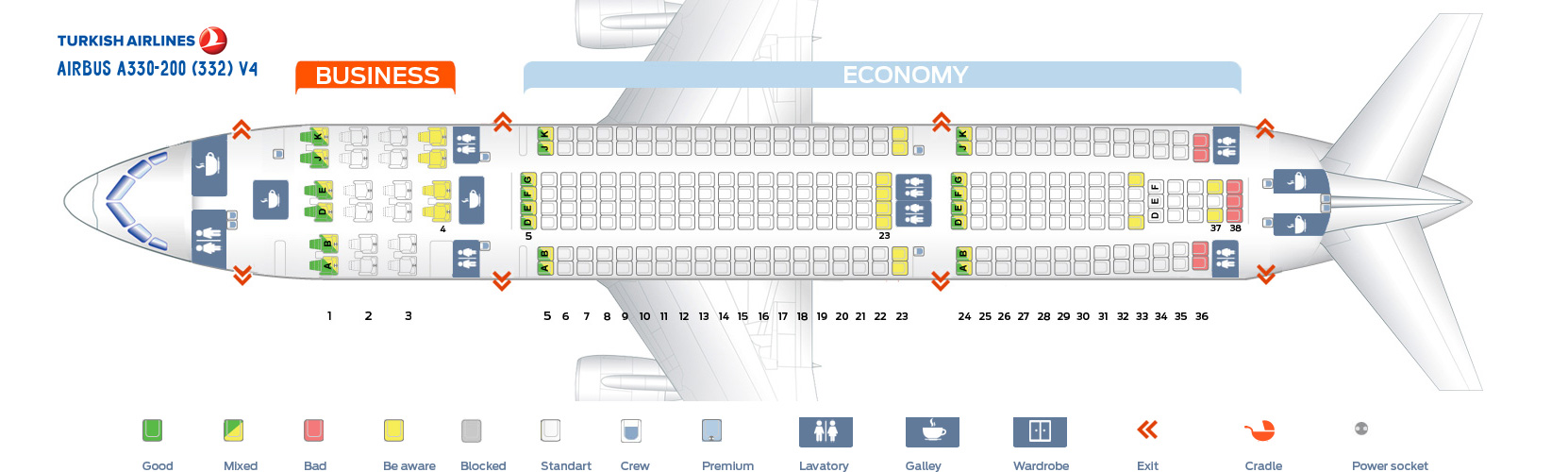 Seat Map And Seating Chart Turkish Airlines Airbus A330 200 V4