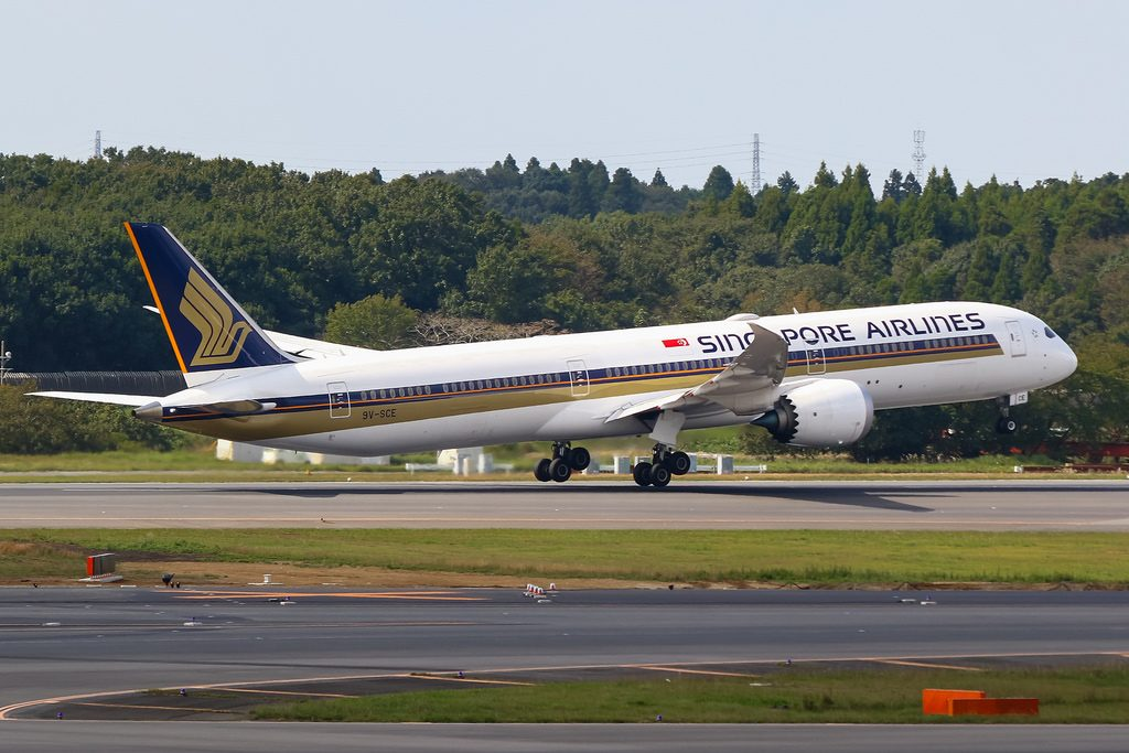 Singapore Airlines 9V SCE Boeing B787 10 Dreamliner at Narita International Airport RJAA