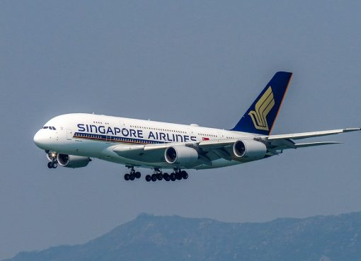 Singapore Airlines 9V SKY Airbus A380 800 on final approach at Hongkong International Airport