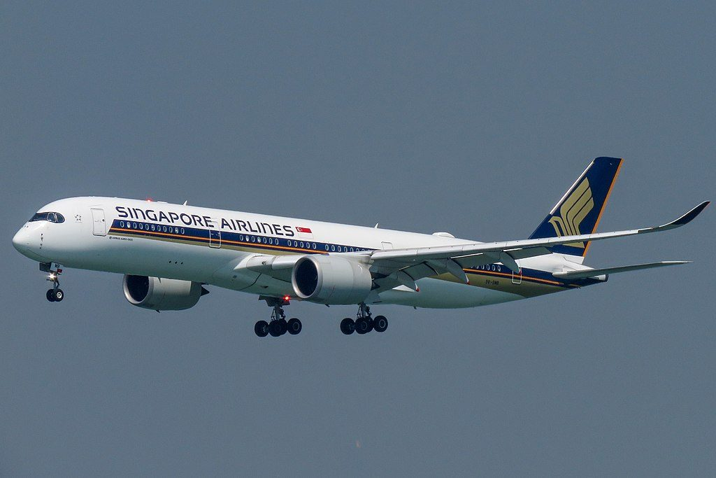 Singapore Airlines Airbus A350 900 9V SMB at Hong Kong International Airport