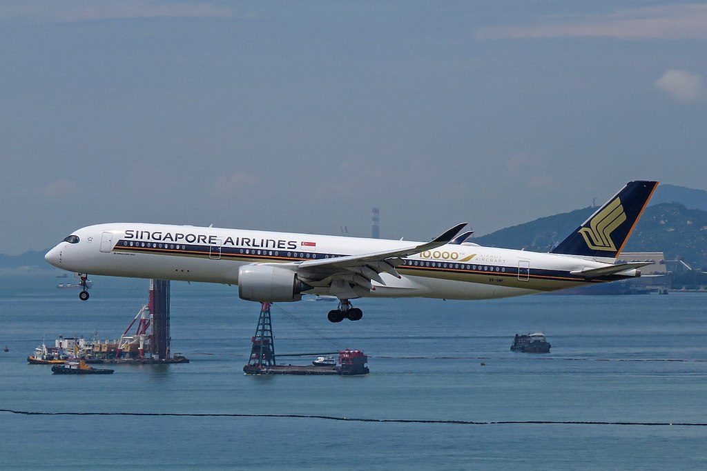 Singapore Airlines Airbus A350 900 9V SMF 10000th Airbus Aircraft cs livery at Hong Kong International Airport