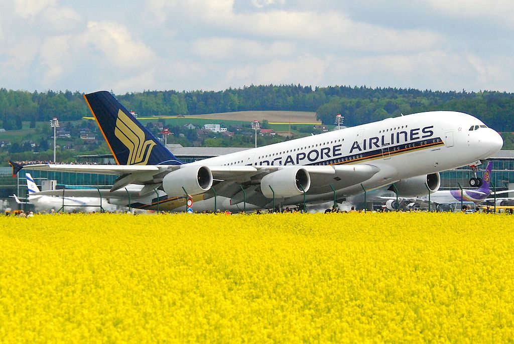 Singapore Airlines Airbus A380 800 9V SKF departing Zurich International AirportZRH