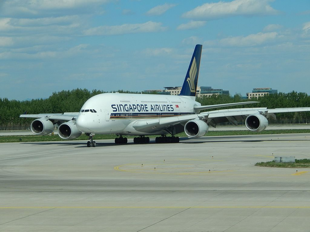 Singapore Airlines Airbus A380 800 9V SKG at Beijing Capital International Airport PEK