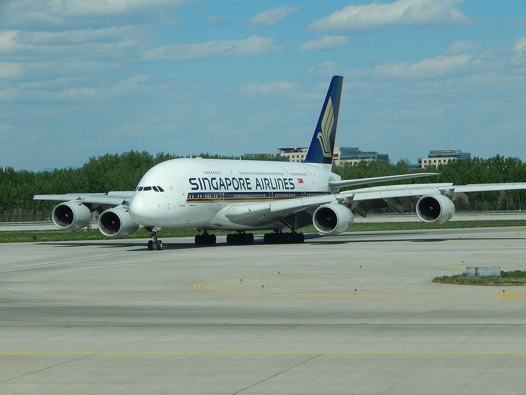 Singapore Airlines Airbus A380 800 9V SKG at Beijing Capital International Airport PEK