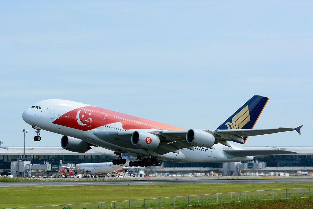 Singapore Airlines Airbus A380 800 9V SKI 50th anniversary of Singapore livery at Narita International Airport NRT