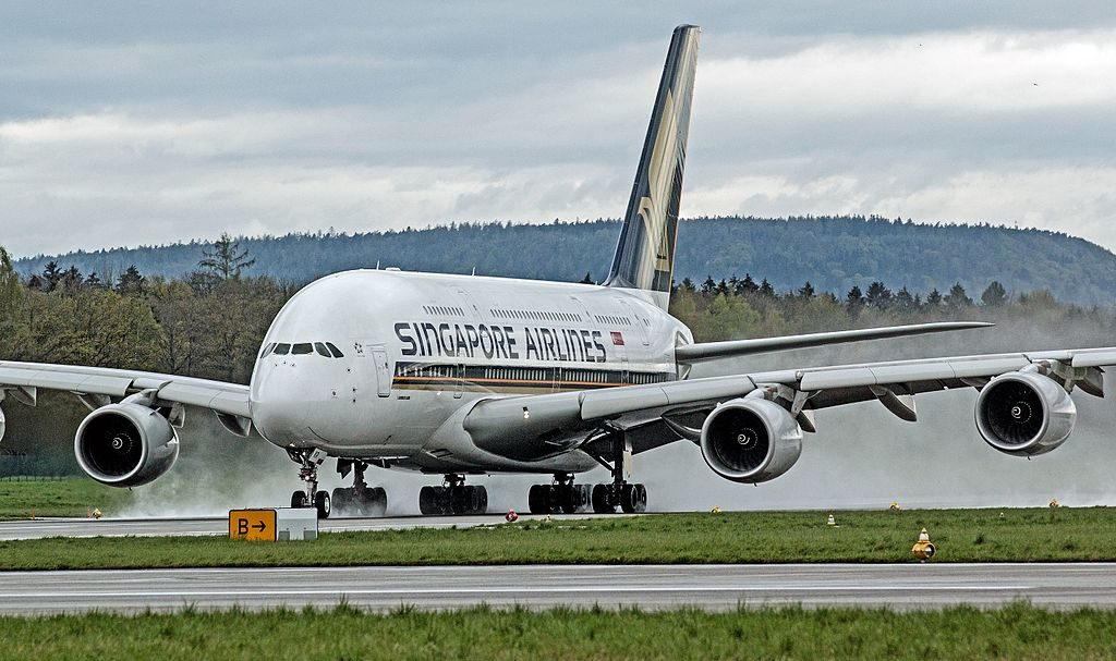 Singapore Airlines Airbus A380 800 9V SKR at Zurich International Airport LSZH