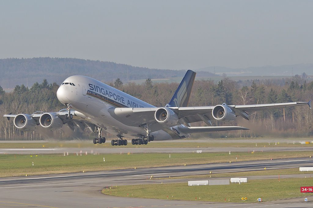Singapore Airlines Airbus A380 841 9V SKP landing at Zurich International Airport ZRH