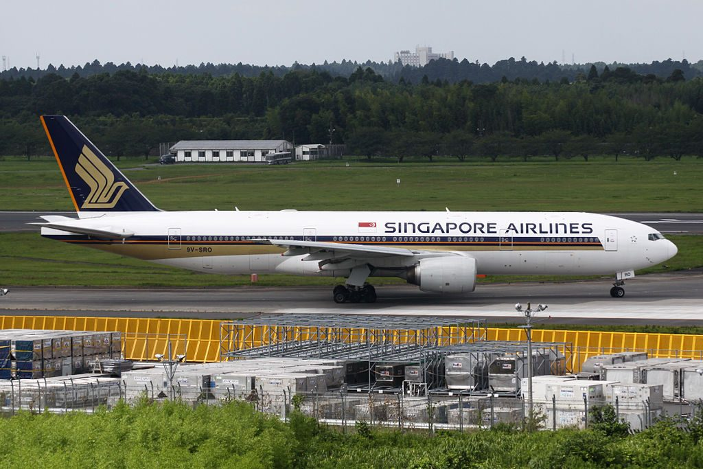 Singapore Airlines Boeing 777 200 9V SRO Holding short of runway 16R Narita International Airport