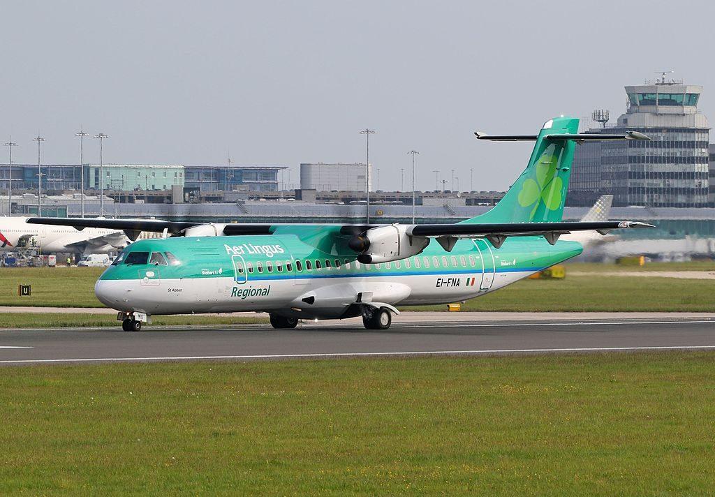 Stobart Air Aer Lingus Regional ATR72 600 EI FNA St. Abban Abán at Manchester Airport