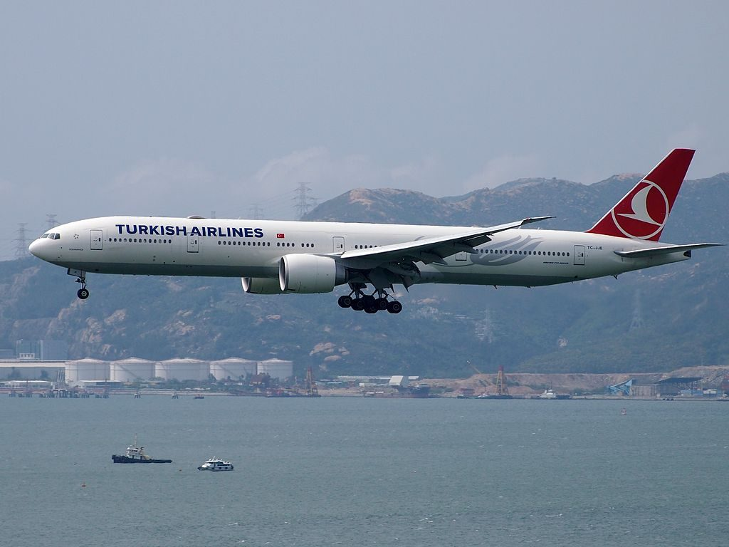 TC JJE Boeing 777 300ER Dolmabahçe of Turkish Airlines at Hong Kong International Airport